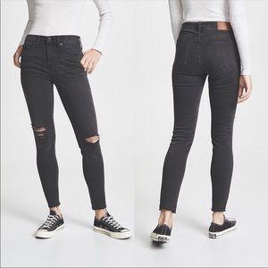 "Madewell 9"" High Rise Skinny Black Wash Jeans 28S"